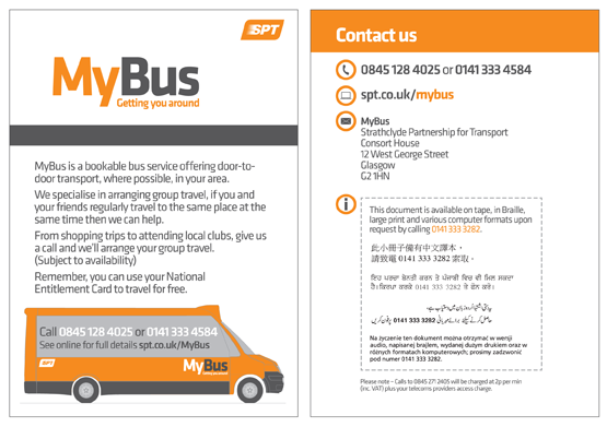 Flyer for SPT's MyBus service