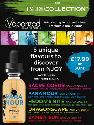 Vaporized premium NJOY Artist Collection e-liquid poster
