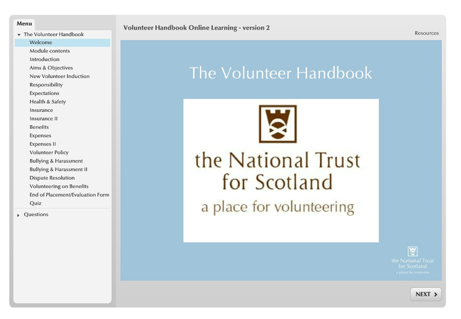 Volunteer Handbook E-Learning screenshot