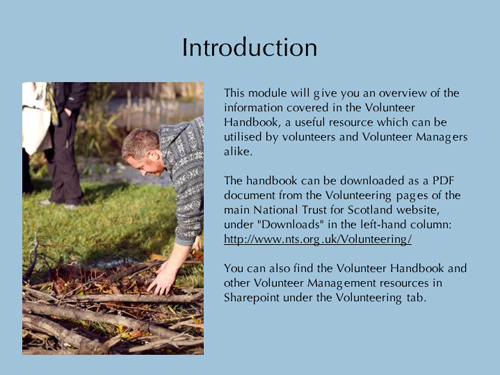 Introduction slide for Volunteer Handbook E-Learning module